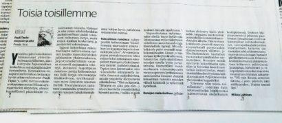 """""""Toisia toisillemme"""", Turun Sanomat. Miikka Laihisen arvio Pauli Tapion kokoelmasta Varpuset ja aika"""